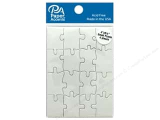 scrapbooking & paper crafts: Paper Accents Chip Shape Small Puzzle 4 in. x 5.5 in. White 4 pc
