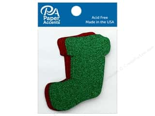 scrapbooking & paper crafts: Paper Accents Cardstock Shape Glitter Stocking Red & Green 8 pc