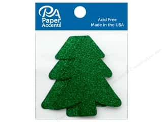 scrapbooking & paper crafts: Paper Accents Cardstock Shape Glitter Tree Green 8 pc