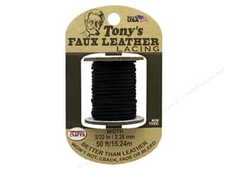 Pepperell Faux Leather Lacing 3/32 in. x  50 ft. Black