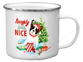 Clearance: Molly & Rex Enamel Mug Holiday Naughty Feels Nice