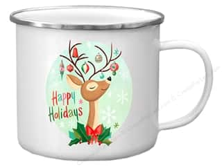Clearance: Molly & Rex Enamel Mug Holiday Happy Holidays Deer