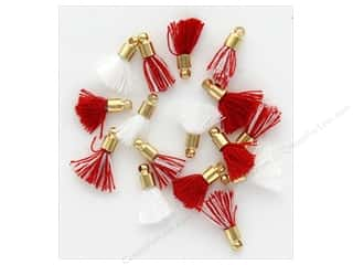 craft & hobbies: Jesse James Embellishments Tassels Tiny Christmas Red/White