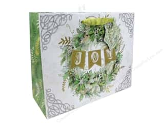 Clearance: Punch Studio Gift Bag Winter Greens Large Horizontal