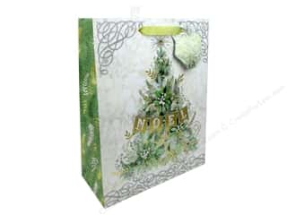 ribbon: Punch Studio Gift Bag Winter Greens Large Vertical