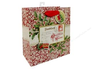 burlap: Punch Studio Gift Bag Postcards & Holly Medium Vertical