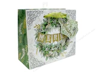 Clearance: Punch Studio Gift Bag Winter Greens Medium Horizontal