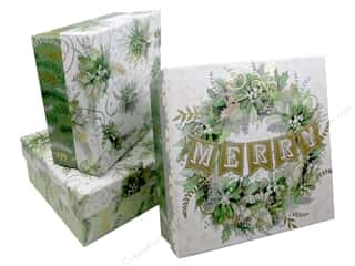 decorative box: Punch Studio Box Nesting Square Winter Greens Set of 3