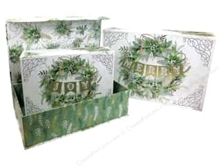Punch Studio Box Nesting Flip Top Winter Greens Set of 3