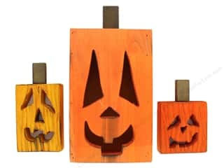Sierra Pacific Crafts Wood Jack O Lantern Tabletop Set of 3