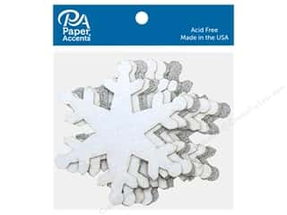 die cuts: Paper Accents Glitter Snowflake White & Silver 8 pc