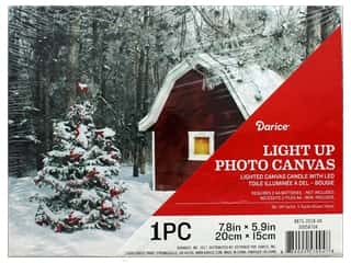 Darice Light Up Canvas LED 7.8 in. x 5.9 in. Christmas Barn