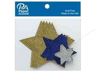 die cuts: Paper Accents Glitter Shapes Stars Gold, Silver, Jewel Assorted Sizes 15 pc