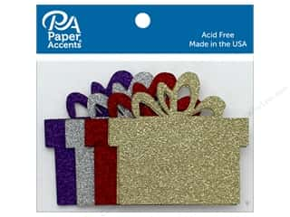 die cuts: Paper Accents Glitter Shapes Present Red, Silver, Light Gold, Grape 8 pc