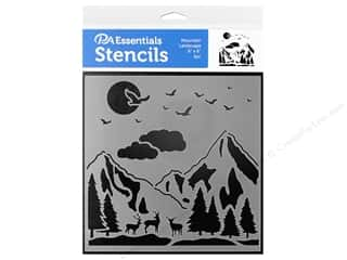 craft & hobbies: PA Essentials Stencil 6 x 6 in. Mountain Landscape