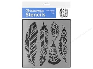 craft & hobbies: PA Essentials Stencil 6 x 6 in. Boho Feathers