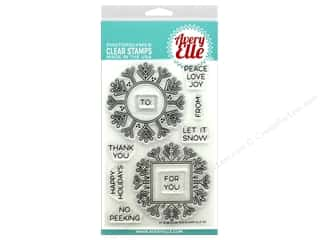 sentiment stamps: Avery Elle Clear Stamp Snow Tags