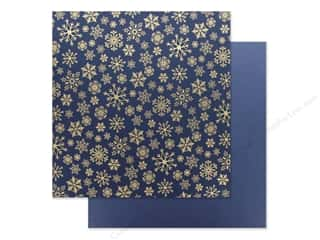scrapbooking & paper crafts: Carta Bella Foil Snowflake Flurry 12 in. x 12 in. Navy (25 pieces)