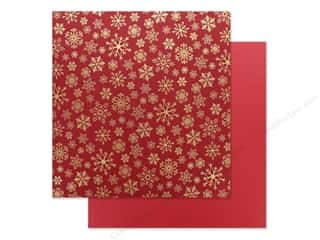 Clearance: Carta Bella Foil Snowflake Flurry 12 in. x 12 in. Red (25 pieces)