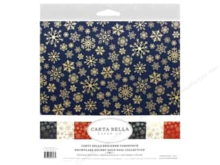 scrapbooking & paper crafts: Carta Bella Foil Snowflake Flurry Kit 12 in. x 12 in. Gold
