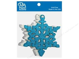 die cuts: Paper Accents Glitter Shapes Ornament Snowflake Silver, White & Blue 6 pc