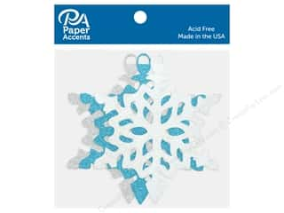 scrapbooking & paper crafts: Paper Accents Glitter Shapes Ornament Snowflake Silver, White & Blue 6 pc
