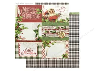 Clearance: Simple Stories Collection Vintage Christmas Paper 12 in. x 12 in. Elements Horizontal 4 in. x 6 in. (25 pieces)