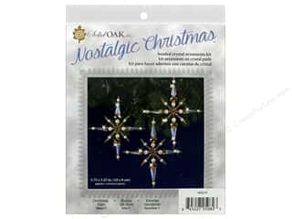 Solid Oak Kit Beaded Ornament Stars Crystal/Gold