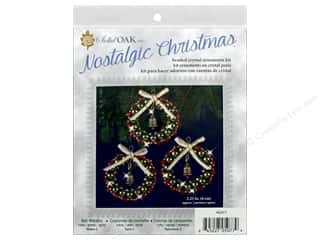 beading & jewelry making supplies: Solid Oak Kit Beaded Ornament Bell Wreath Ruby/Green/Gold