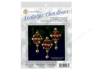Solid Oak Kit Beaded Ornament Baroque Drops Ruby/Gold/Pearl