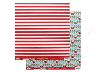 """Clearance: Doodlebug Collection Christmas Town Paper 12""""x 12"""" Candy Cane Lane (25 pieces)"""