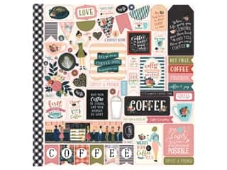 scrapbooking & paper crafts: Echo Park Collection Coffee Sticker 12 in. x 12 in. Elements (15 pieces)