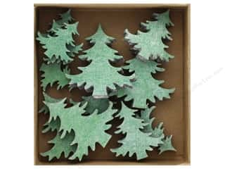 craft & hobbies: Sierra Pacific Crafts Wood Shapes 12 pc. Christmas Trees Green