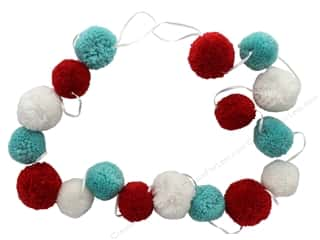 novelties: Sierra Pacific Crafts Garland Pom Pom Chenille 76 in. Red/White/Teal