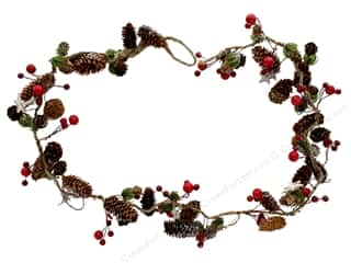 Sierra Pacific Crafts Garland Wood Pinecone With Berries Brown/Red 39 in.