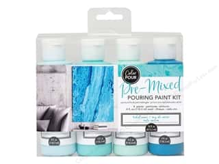 craft & hobbies: American Crafts Color Pour Pre Mixed Paint Kit Tidal Wave 4 pc