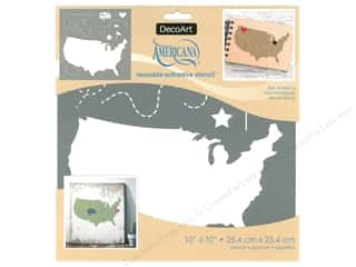 craft & hobbies: DecoArt Stencil Americana Adhesive 10 in. x 10 in. See America