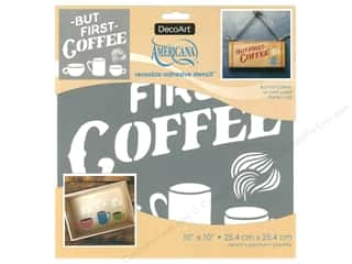 craft & hobbies: DecoArt Stencil Americana Adhesive 10 in. x 10 in. But First Coffee