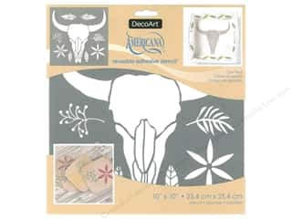 craft & hobbies: DecoArt Stencil Americana Adhesive 10 in. x 10 in. Cow Skull