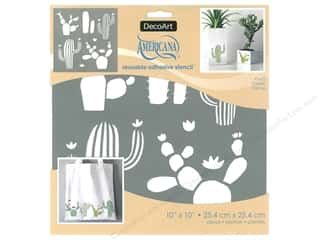 craft & hobbies: DecoArt Stencil Americana Adhesive 10 in. x 10 in. Cacti