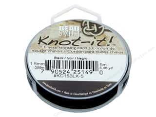 beading & jewelry making supplies: The Beadsmith Chinese Knotting Cord 1.5 mm Black