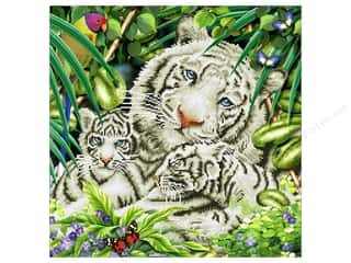beading & jewelry making supplies: Diamond Dotz Intermediate Kit - White Tiger & Cubs