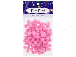 craft & hobbies: PA Essentials Pom Poms 3/8 in. Pink 100 pc.