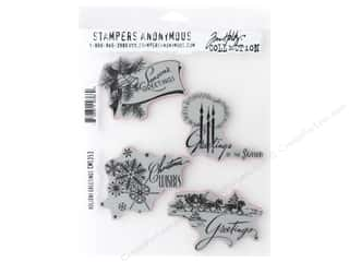 Stampers Anonymous Cling Mount Stamp Tim Holtz Holiday Greetings