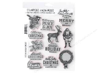 Stampers Anonymous Cling Mount Stamp Tim Holtz Festive Overlay