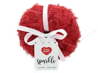 yarn & needlework: Coats & Clark Red Heart Sparkle Yarn 3 oz Berry Red