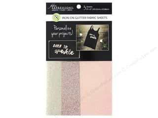 Fabric Expressions Iron On Sheet Glitter Fashion 3 pc