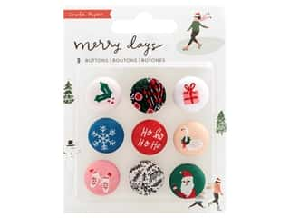 Clearance: Crate Paper Collection Merry Days Sticker Fabric Buttons