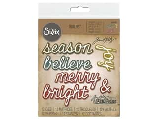 Sizzix Tim Holtz Thinlits Die Set 12 pc. Shadow Script Christmas