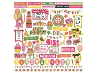 scrapbooking & paper crafts: Photoplay Collection Birthday Wishes Girl Sticker Element 12 in. x 12 in. (12 sets)